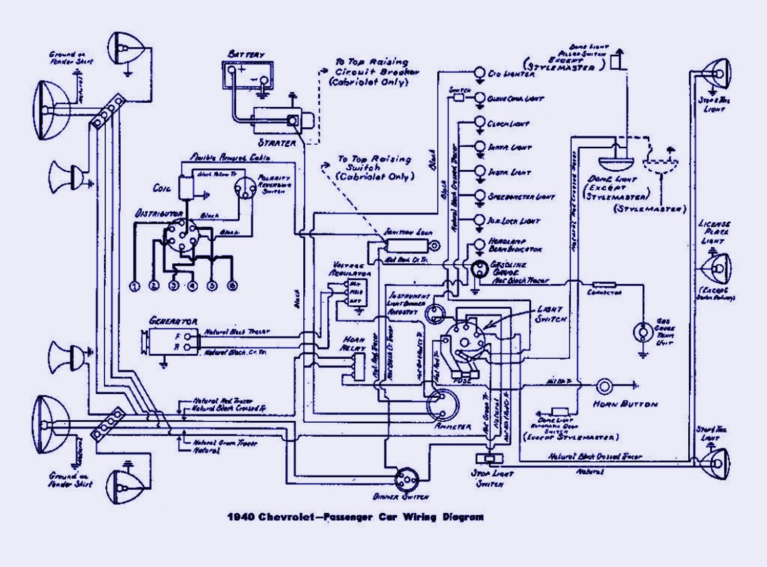 1940 Chevrolet Passenger Electrical Wiring Diagram | Auto