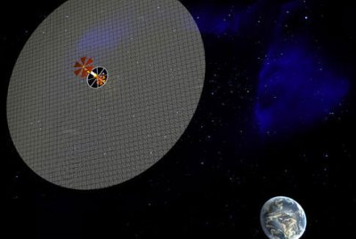 Concept of a solar reflector in high orbit.