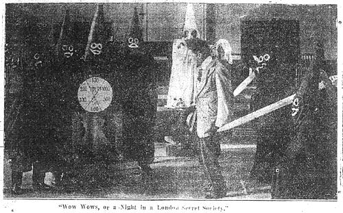 """Чарльз Чаплин в скетче """"Уоу-Уоус, или Вечер в лондонском тайном обществе"""""""
