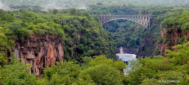Bridge spanning over river.