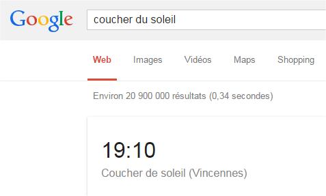 capture écran Google - coucher du soleil