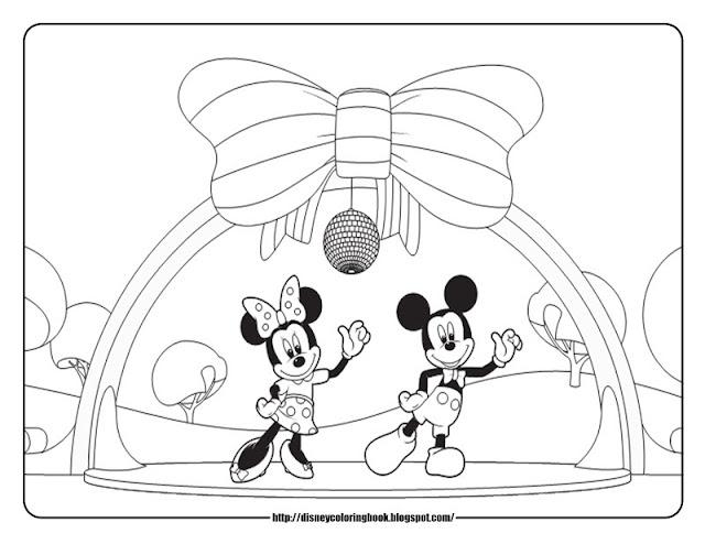 Микки и Минни танцуют раскраски Mickey and Minnie are dancing