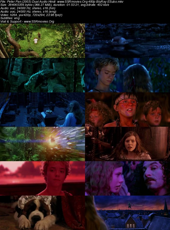 Peter Pan (2003) Dual Audio Hindi 480p BluRay 350MB ESubs