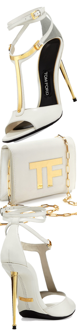 Tom Ford  Leather T-Bar Ankle-Wrap Sandal in White