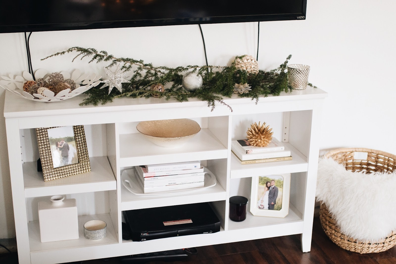 diy christmas decor for your tv/media console