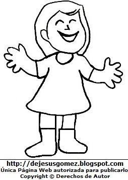 Dibujo de niña feliz para colorear pintar imprimir por Jesus Gómez