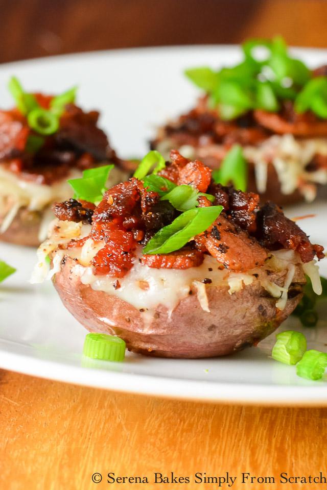 5 Loaded Mini Potato Recipes-Cheesy Bacon Chive Loaded Mini Potato