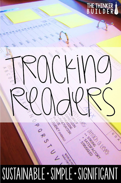 How to keep track of your students' reading progress, in a way a way that's simple enough to not get in your way but significant enough to actually help your readers grow! (A Blog Post from The Thinker Builder)