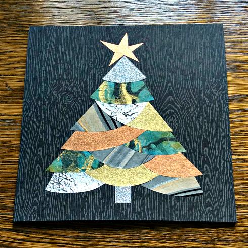 metallic paper collaged tree card