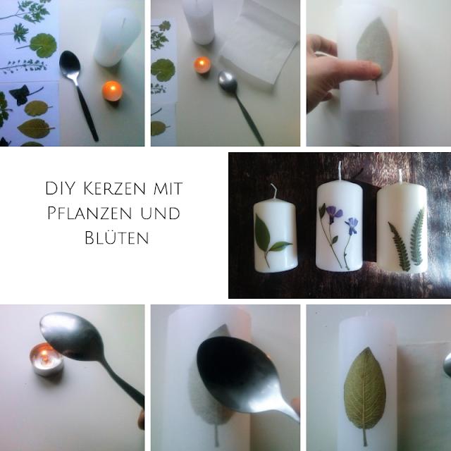 DIY Kerzen mit Pflanzen und Blueten