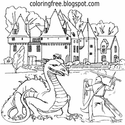 Printable castle scenery magic dragon coloring for kids fantasy British knight picture drawing ideas