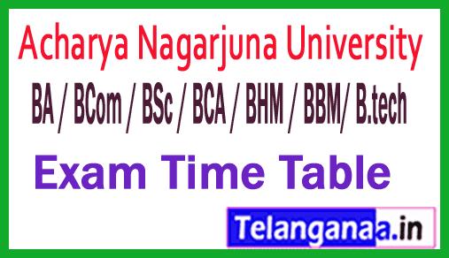 ANU UG (BA / BCom / BSc / BCA / BHM / BBM) Exam Time Table