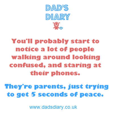 You'll probably start to notice a lot of people walking around looking confused, and staring at their phones. They're not playing Pokemon Go, they're just parents trying to get 5 seconds of peace. Funny joke meme about parenting a child
