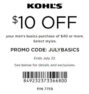 kohls coupon $10 off $40 men's basics purchase