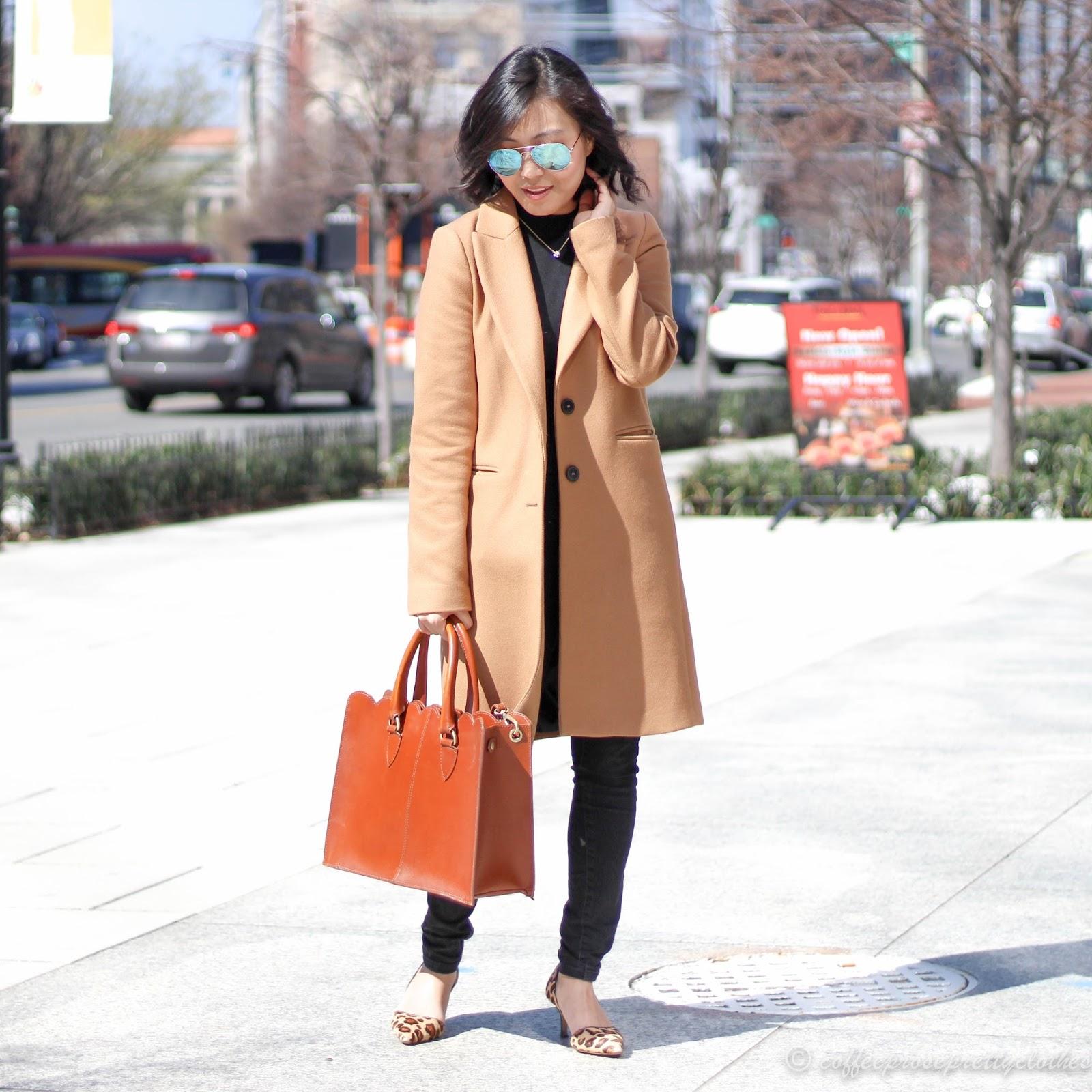 Camel Coat, black bodysuit, leopard heels