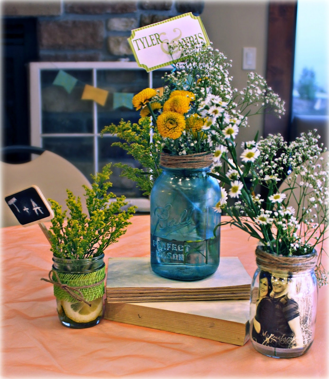 Mason jar herb centerpieces arts crafts ideas movement for Mason jar wedding centerpiece ideas