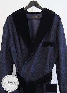 Herren Männer edler Hausmantel Barock Muster Baumwolle Marineblau Dunkelblau Samt Seide gefüttert Maßanfertigung Große Größen Exquisit Englischer Stil