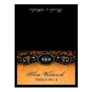 Elegant Halloween FOLDING Place Card Names Printed Guest Names