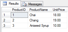 Select Northwind Product Results From T-SQL Select