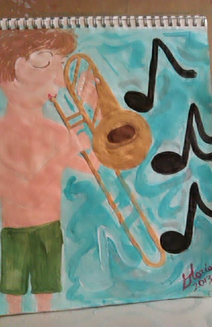 Cartoon-boy-playing-trombone-by-Gloria Poole; Missouri