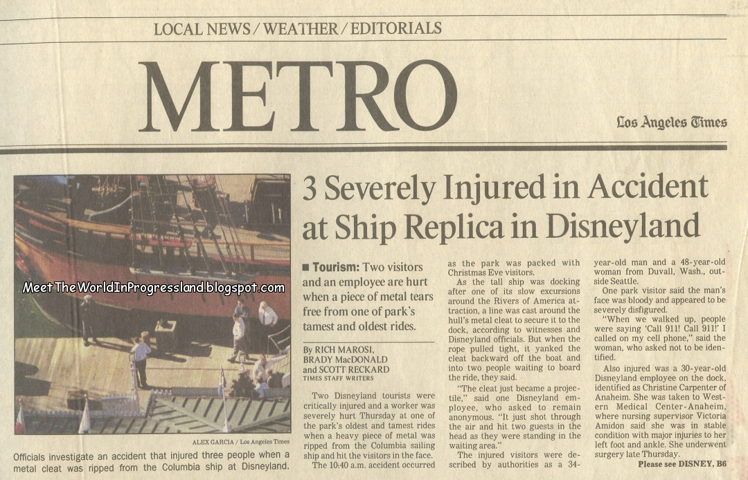 3fd0782a85 Twenty years ago this month, Disneyland's Columbia Sailing Ship was  involved in a tragic accident affecting two guests and one cast member.
