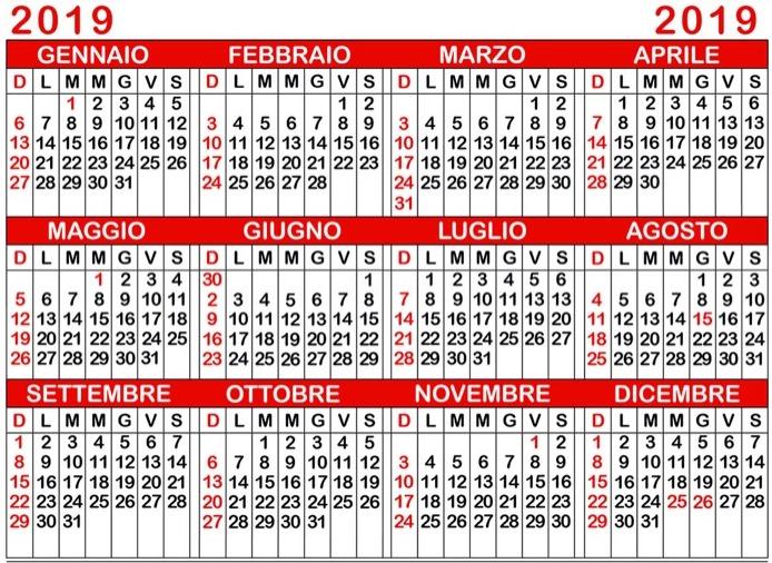 Calendario Calendario 2019 Fasi Lunari E Santi