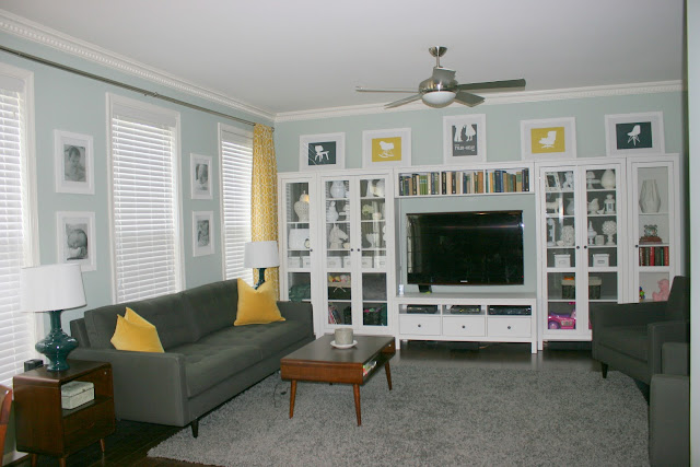 gray and yellow family room