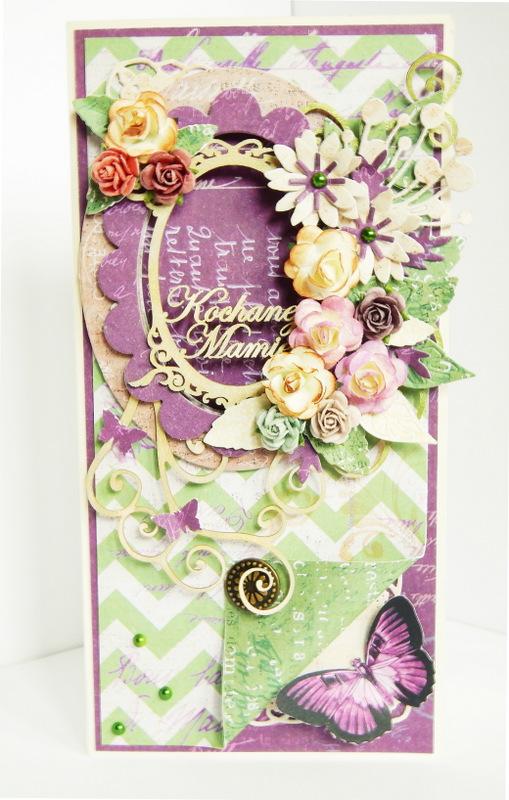 Kartka handmade z ramką i kwiatami na Dzień Mamy