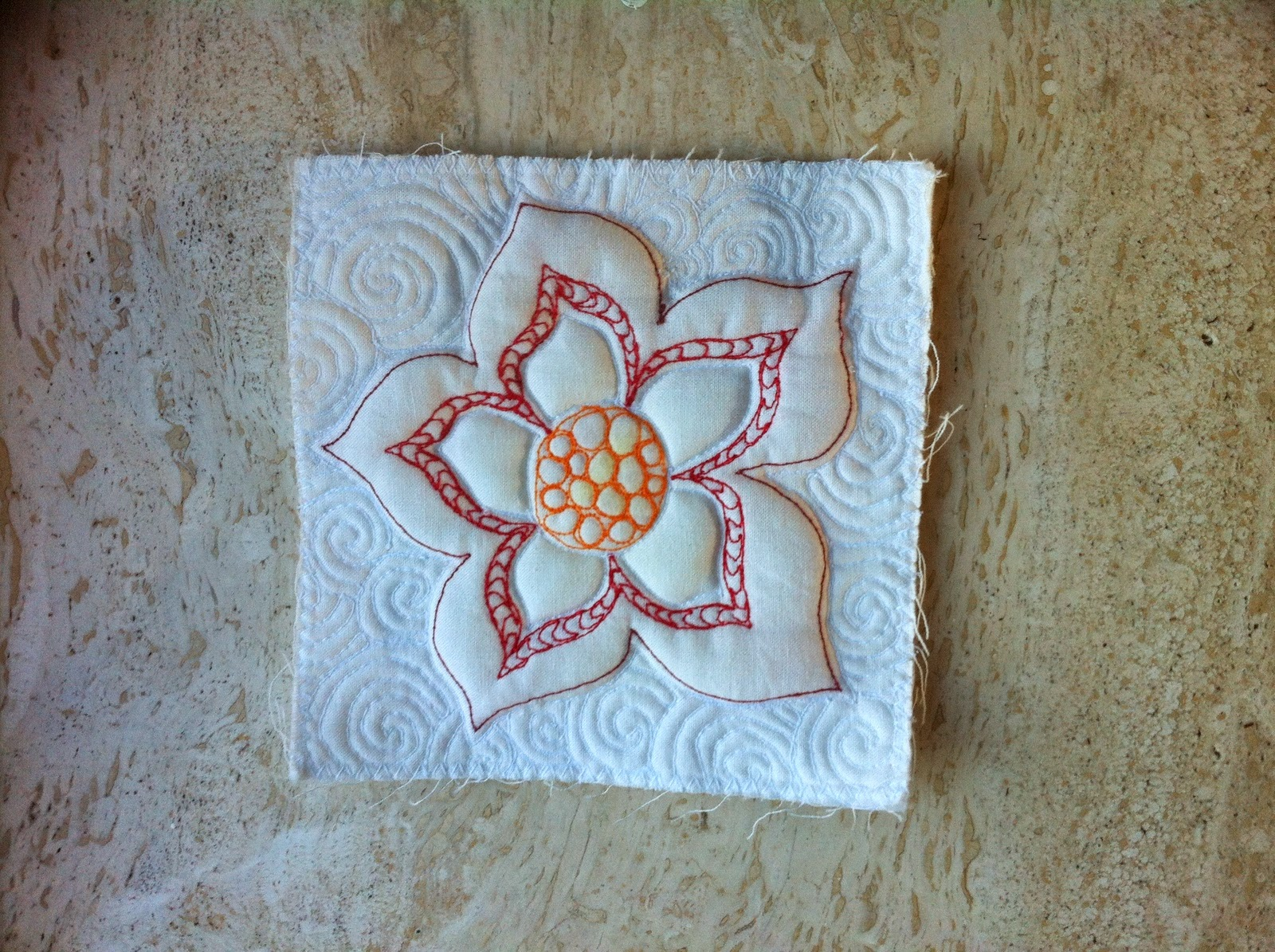 Proeflapje voor wholecloth quilt