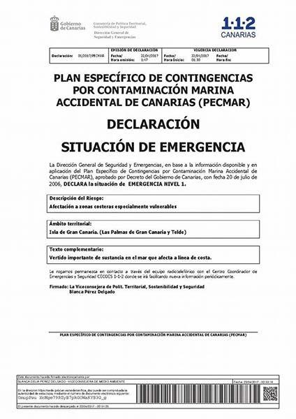 Emergencia nivel 1 por vertido costas Las Palmas de Gran Canaria y Telde