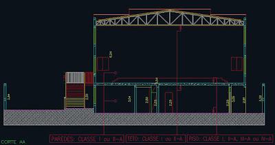 Seção transversal do projeto de prevenção e combate a incêndios, elaborado pela Almeida & Scaglia Engenharia.