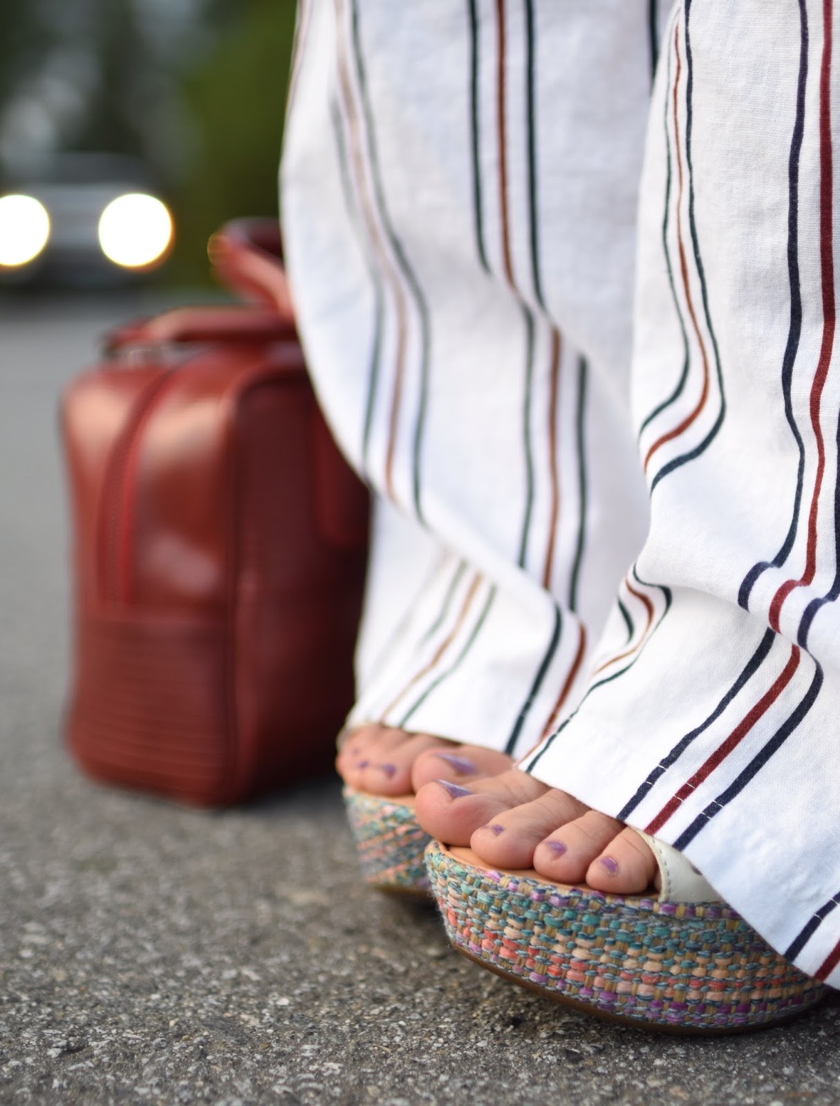 striped drawstring linen trousers, Elvis & Kresse box bag