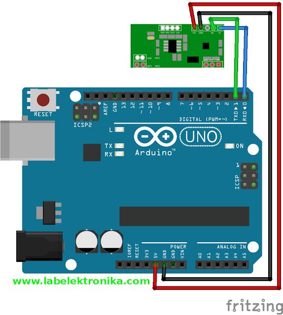 Wiring Diagram RDM6300 menggunakan Arduino