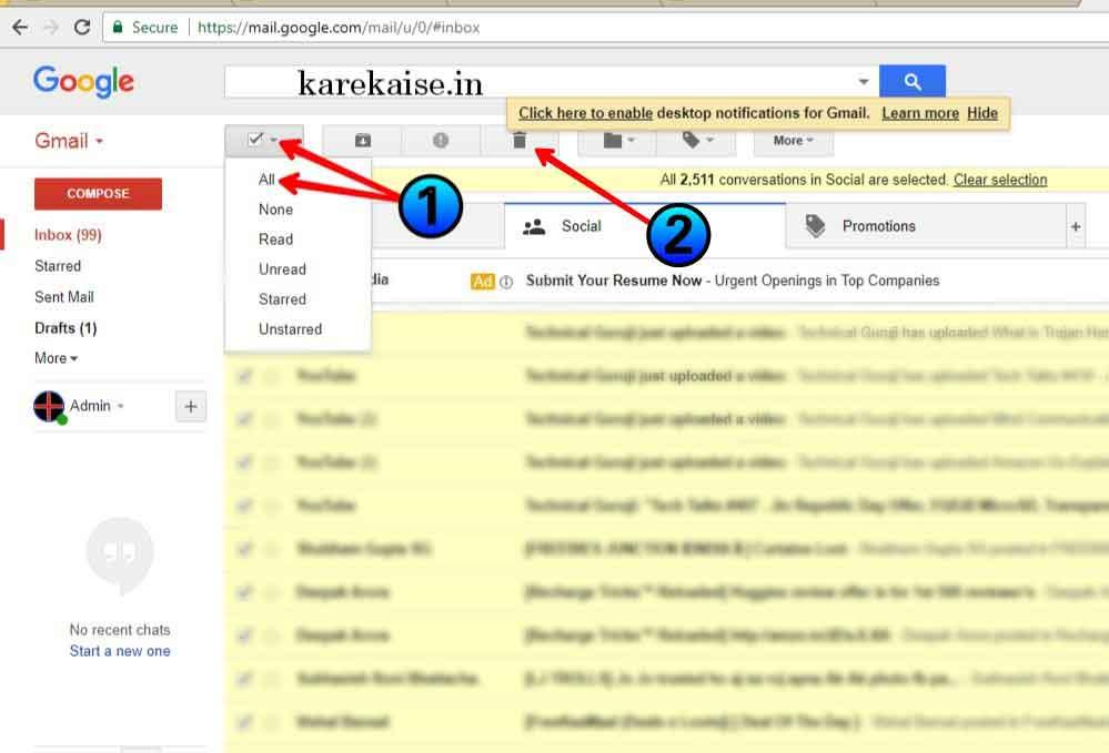 Gmail ke sabhi email kaise delete kare