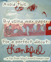 Using wax paper for clean die cuts  - Meg Loven