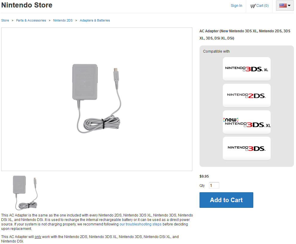 Nintendo's online store for 3DS AC Adapter, compatible with New Nintendo 3DS XL.