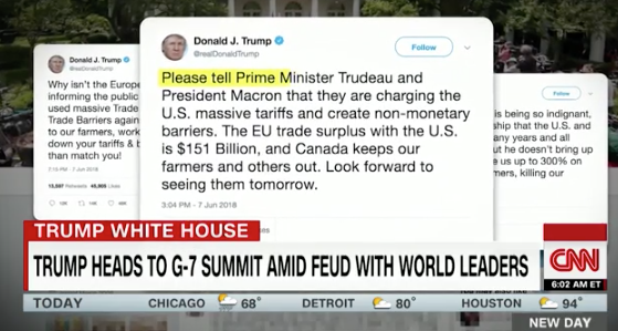 Trump to skip climate portion of G7 after Twitter spat with Macron and Trudeau