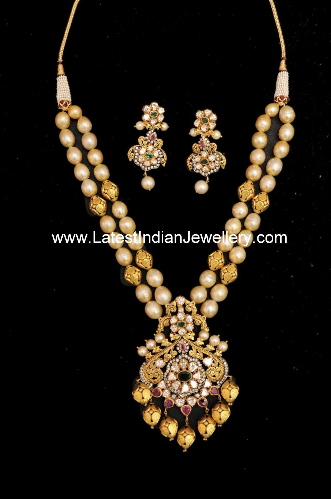Two Stringed Pearl Gold Beads Mala Latest Indian