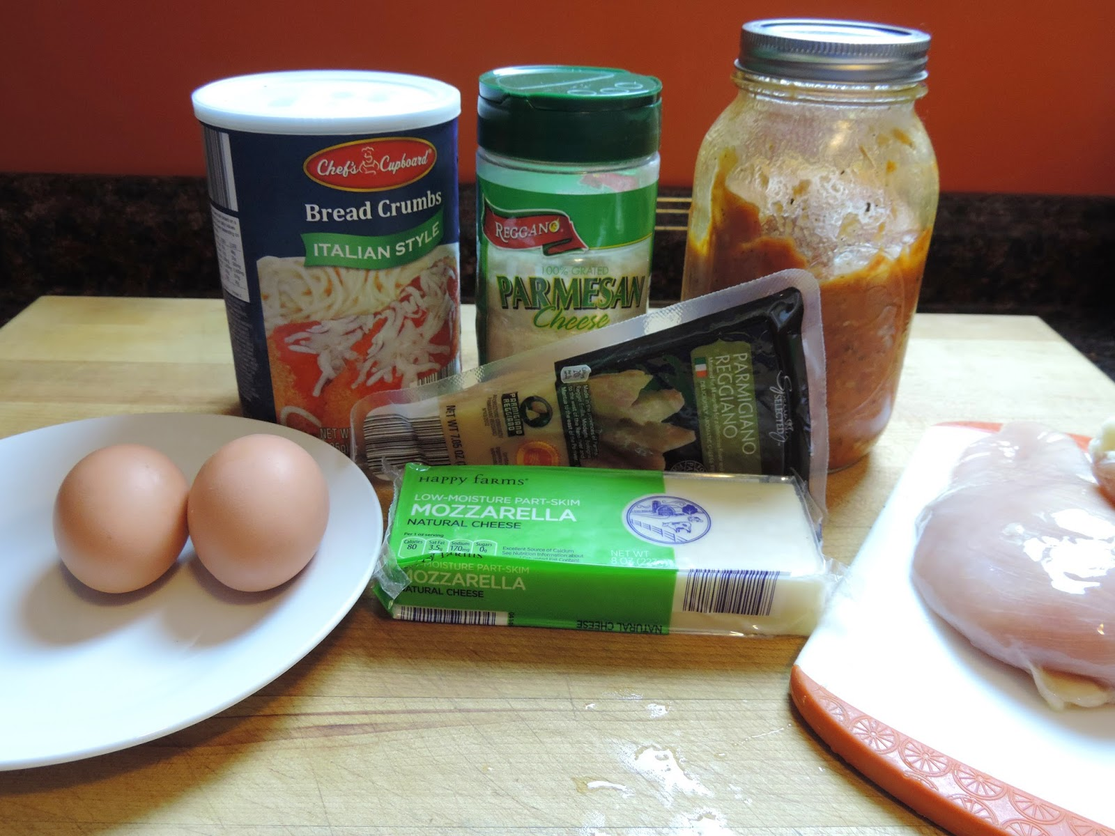 The ingredients needed for the chicken Parmesan.