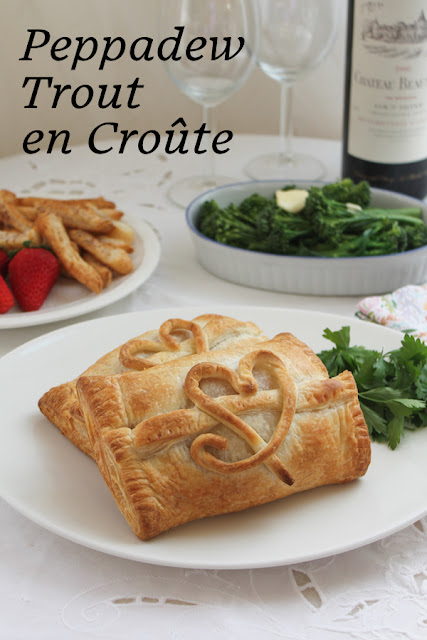 Food Lust People Love - Peppadew Trout en Croûte: Peppadew peppers and garlic add a lovely fresh flavor that complements the richness of the trout and the pastry. #SundaySupper