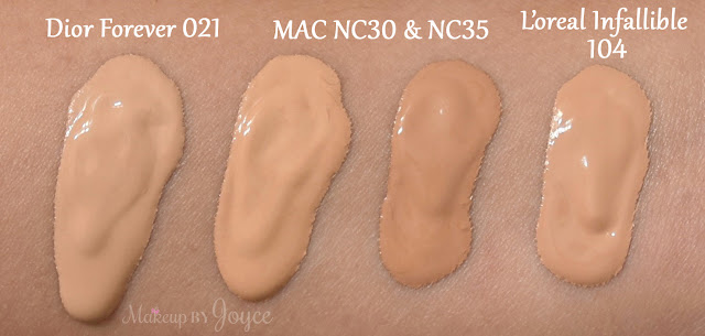 Mac Pro LongWear Nourishing Waterproof Foundation NC30 NC35 Swatches