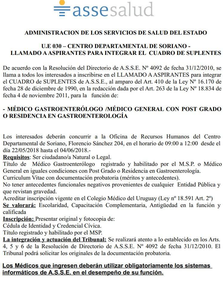 Médicos Gastronterólogos 2018 Asse