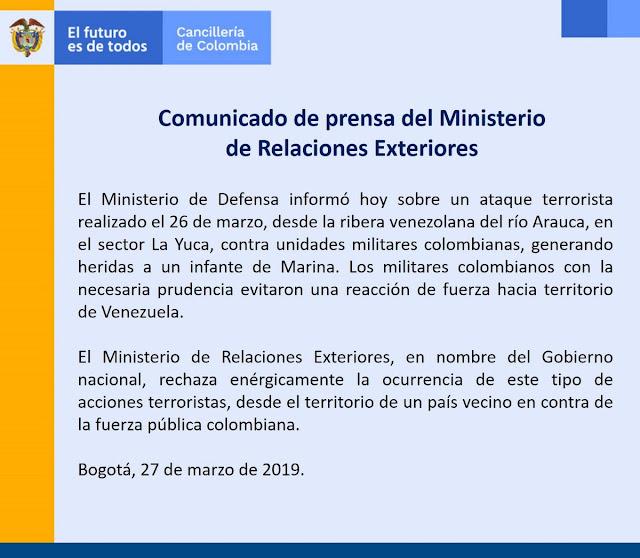 Comunicado de prensa del Ministerio de Relaciones Exteriores