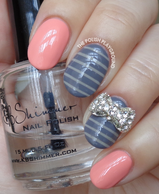 Peachy Pink with Grey Stripes and Bow Stud Nail Art