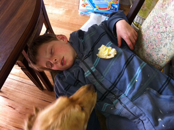 15+ Hilarious Pics That Prove Kids Can Sleep Anywhere - Napping On The Floor With Bread Leftovers