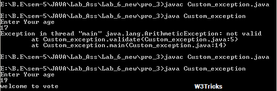 Custom exception  handling Core Java