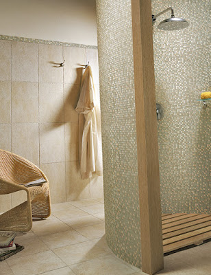 Consider using different sizes and styles of tile on the floor and walls of your shower