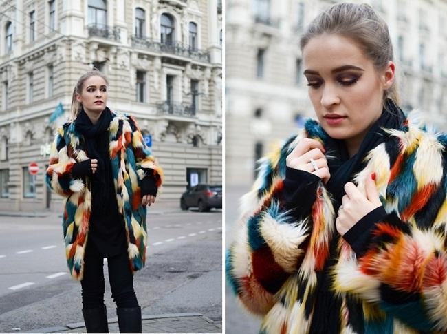 H&M 2015 Winter Colorful Faux Fur Coat Street Snap