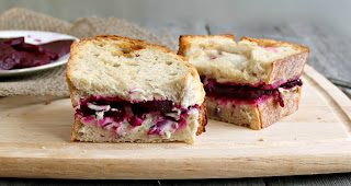 Roasted Beet and Herbed Goat Cheese Sandwich