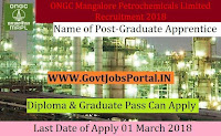 ONGC Mangalore Petrochemicals Limited Recruitment 2018– 17 Graduate Apprentice & Technician Apprentice